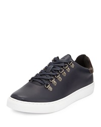 French Connection Fenton Leather Lace Up Sneaker Navy