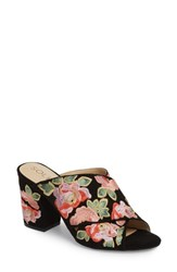 Sole Society 'S Luella Flower Embroidered Slide Black Coral Multi Embroidery