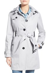 Petite Women's Michael Michael Kors Single Breasted Raincoat Silver