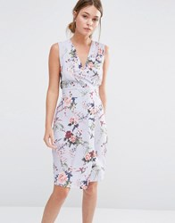 Closet Wrap Front Midi Dress In Floral Blue Floral Pink