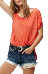 Free People Women's Pluto One Shoulder Tee Red