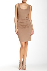 Glam Jersey Rouch Bubble Hem Tank Dress Beige