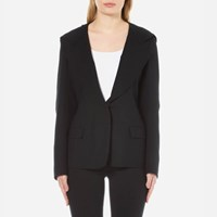 Dkny Women's Long Sleeve Collared Jacket With Hood Black