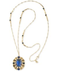 Carolee Gold Tone Blue Stone Long Oval Pendant Necklace
