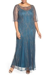 Brianna Plus Size Women's Beaded Mesh Elbow Sleeve Gown