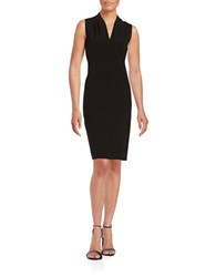 T Tahari Tonya Pleated Sheath Dress Black
