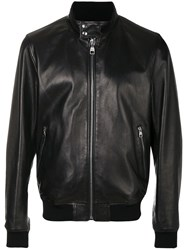 Salvatore Ferragamo Front Zipped Bomber Jacket Lamb Skin Polyester Black