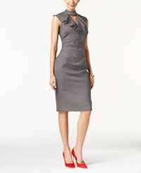 Thalia Sodi Mock Neck Ruffled Sheath Dress Only At Macy's Sangria Grey