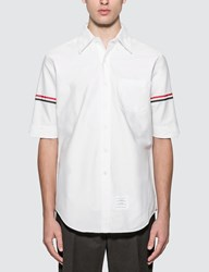 Thom Browne Classic Short Sleeve Oxford Shirt With Stripe White