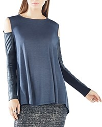 Bcbgmaxazria Judson Faux Leather Sleeve Cold Shoulder Top Ebony