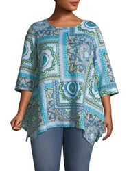 Context Plus Printed Linen Blend Top Blue Caribbean