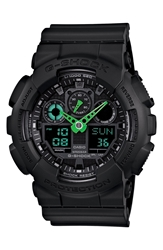 G Shock 'Neon Highlights' Ana Digi Watch 55Mm Black Green