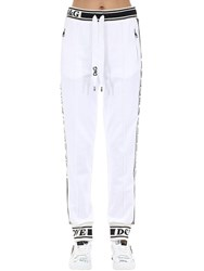Dolce And Gabbana Cotton Jersey Track Pants W Side Bands White