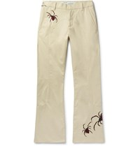 Off White Slim Fit Flared Embroidered Cotton Blend Chinos Neutrals