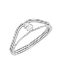 Nadri Cubic Zirconia Pave And Oval Silvertone Bangle Bracelet