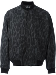Just Cavalli Animalier Print Bomber Jacket Black