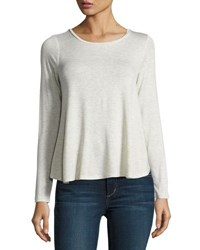 Bobeau Pleated Back Long Sleeve Tee Beige