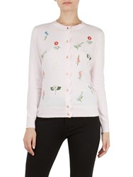 Ted Baker Inyiss Floral Embroidery Cardigan Pink