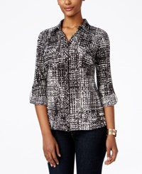 Ny Collection Petite Printed Utility Shirt Noir Smallbin