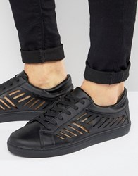 Asos Trainers In Black With Cut Out Detail Black
