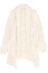 Maje Draped Open Knit Cotton Blend Cardigan Cream