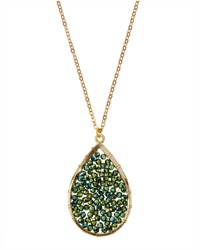 Panacea Teardrop Pendant Rhinestone Necklace Green