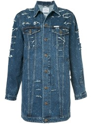Forte Couture Long Distressed Denim Jacket Blue