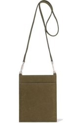 Rick Owens Woman Security Pocket Pvc Paneled Textured Leather Shoulder Bag Army Green