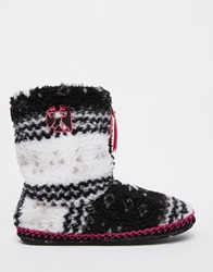 Bedroom Athletics Jessica Fairisle Slipper Boots Blackhotpinki
