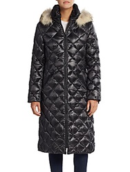 Dawn Levy Kali Fur Trimmed Diamond Quilted Coat Black
