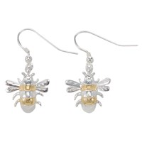 Martick Silver And Gold Plated Bee Earrings
