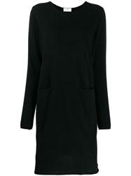 Allude Rolled Hem Knitted Dress Black