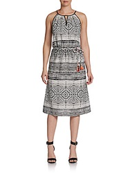 Saks Fifth Avenue Red Tribal Print Halter Dress Black White
