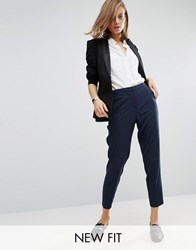 Asos Ankle Grazer Cigarette Trousers In Crepe Navy