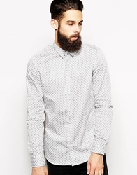 Vito Shirt With Geo Print In Slim Fit White