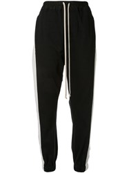 Rick Owens Striped Track Trousers Black