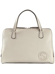 Gucci Embroidered Logo Tote Nude And Neutrals