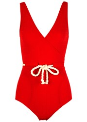 Lisa Marie Fernandez Yasmin Red Seersucker Swimsuit