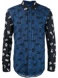 House Of Holland Embroidered Letter Shirt Men Cotton Polyester L Black
