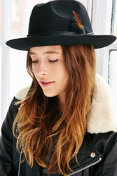 Urban Outfitters Dayton Feather Trim Fedora Black