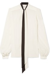 Givenchy Pussy Bow Silk Crepe De Chine Blouse White Gbp