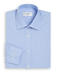 Yves Saint Laurent Regular Fit Pinstripe Dress Shirt French Blue