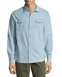 Jachs Ny Button Front Cotton Denim Shirt Blue
