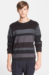 White Mountaineering Pieced Stripe Sweater Charcoal
