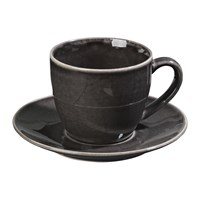 Broste Copenhagen Nordic Coal Teacup And Saucer Stoneware Charcoal