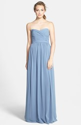 Women's Monique Lhuillier Bridesmaids Strapless Ruched Chiffon Sweetheart Gown French Blue