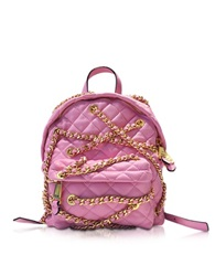 Moschino Quilted Eco Leather Chains Backpack Pink
