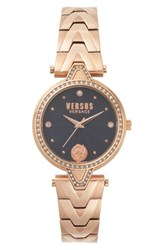 Versus By Versace Crystal Bezel Bracelet Watch 36Mm Rose Gold Blue Rose Gold