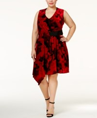 Rachel Roy Trendy Plus Size Draped Velvet Fit And Flare Dress Rich Red Combo