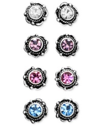 Unwritten Sterling Silver Earrings Multicolor Cubic Zirconia Bali Studs Set Of Four